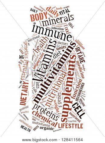 Vitamins Bottle, Word Cloud Concept