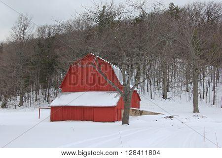A red barn in Port Oneida Rural Historic District, Sleeping Bear Dunes National Lakeshore, Michigan
