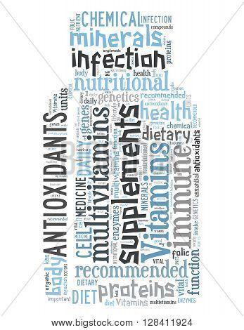 Vitamins Bottle, Word Cloud Concept 7