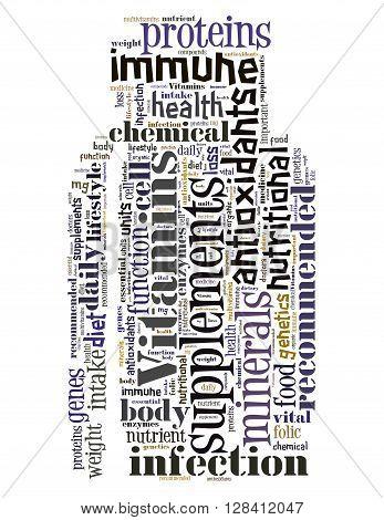 Vitamins Bottle, Word Cloud Concept 9