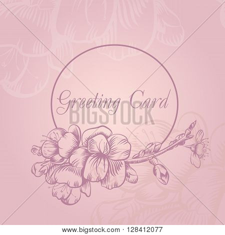 Branch of cherry blossoms. Illustration flowers of the cherry blossoms in vintage style. Vector illustration, sketch. Can Be Card, Invitational, book illustration.