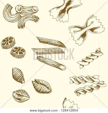 Seamless vector pattern of pasta. Background consist of pasta. Hand drawn sketch art style. Pasta vector illustration pattern. Pasta pattern. Hand drawn pasta patern set.