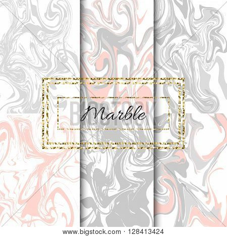 Marble texture vector set. Hand drawn pastel grey and pink ink marble pack.