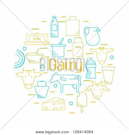 Dairy colorful line icons set in circle shape. Design concept for festive banner and advertisement. Vector illustration. Icons for web mobile and print. White background.
