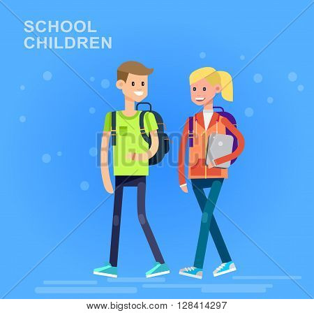 Vector detailed character flat design children students boy and girl. Kids run, smiling, holding Gadgets and backpacks. Primary or elementary school