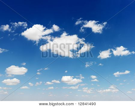 Cumulus cloud formation in blue sky.
