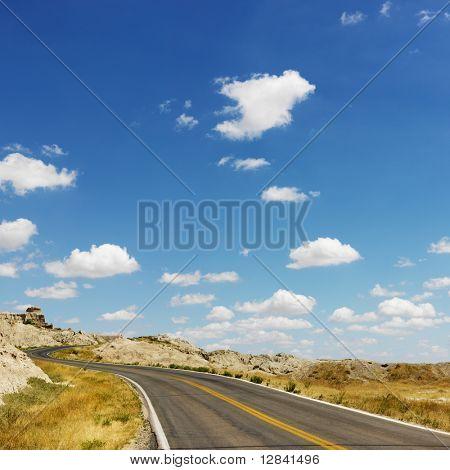 Scenic roadway in Badlands National Park, North Dakota.