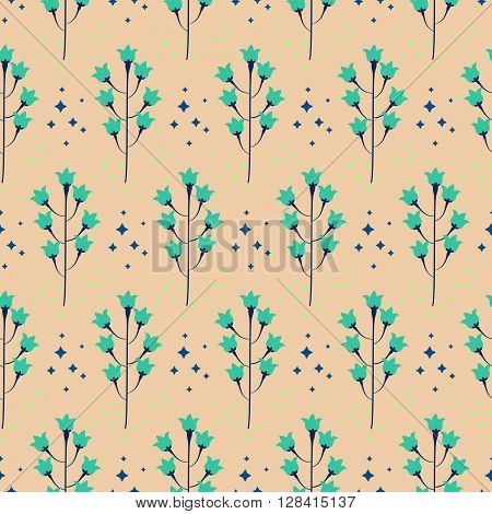 Wild pastel bluebell flower spring field seamless pattern. Floral tender fine summer vector pattern on beige background. For fabric textile prints and apparel.