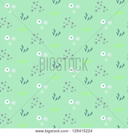 Wild flower pastel mint spring field seamless pattern. Floral tender fine summer vector pattern background. For fabric textile prints and apparel.