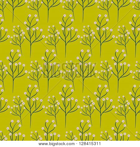 Wild flower green branch spring field seamless pattern. Floral tender fine summer vector pattern on salad green background. For fabric textile prints and apparel.