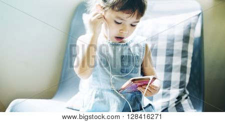 Kid Using Smart Phone Connection Listening Concept