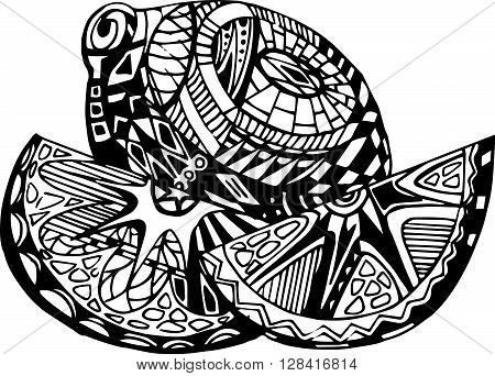 Vintage decorative ornamental lemon. Vector abstract illustration logo icon fruit design element with ornamental patterns in black-white