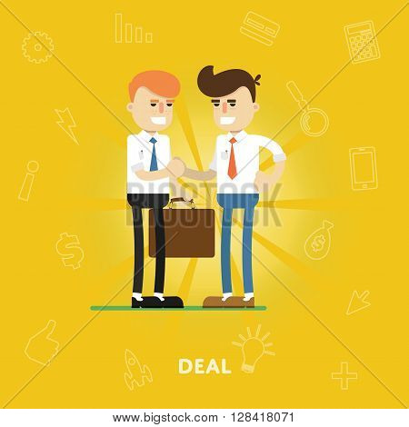 Entrepreneurs agree on a deal, concept of business partnerships flat abstract isolated vector illustration
