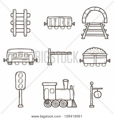 Set of hand drawn railroad icons: wagons semaphore railway station clock locomotive barrier tunnel. Transport shipping delivery or travel concept