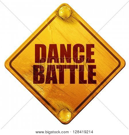 dance battle, 3D rendering, isolated grunge yellow road sign