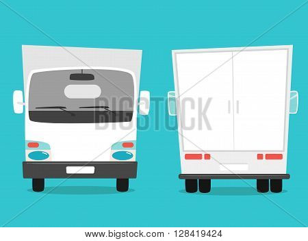 Set of cargo truck. Cartoon vector illustration. Moving van. Moving truck. Isolated on yellow background. Cartoon truck. White truck. Delivery of cargo