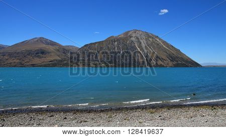 Lake Ohau and Ben Ohau Range. Landscape on the South island of New Zealand.