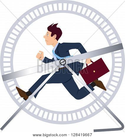 Businessman running in a hamster wheel EPS 8 vector illustration