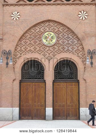 Madrid Spain - April 11 2016: Side door to Madrid Bullring in Plaza de Toros de Las Ventas bullring. Madrid Spain - April 11 2016
