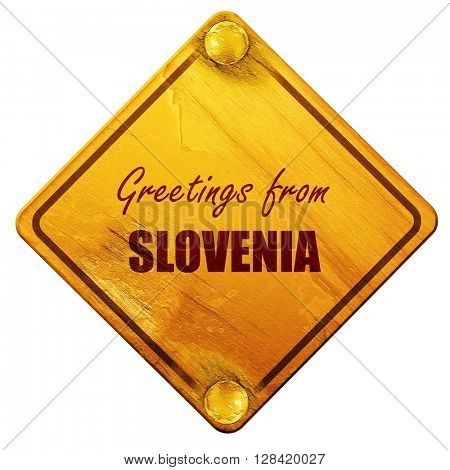 Greetings from slovenia, 3D rendering, isolated grunge yellow ro