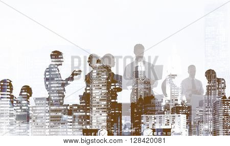 Silhouette Business People Meeting Conference Discussion Concept