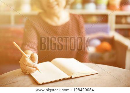 Writing Casual Female Memo Note Leisure Pencil Concept