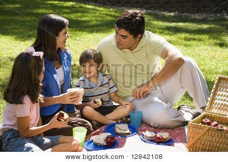 Hispanische Familienpicknick im Park.
