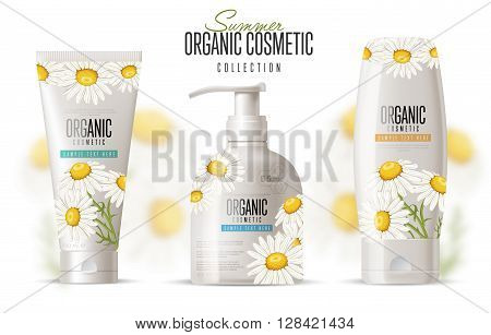 Cosmetic brand template.  Vector packaging. Body care with chamomile. Oil, lotion or soap, shampoo, cream. Realistic bottle mock up set. Isolated pack on white background.