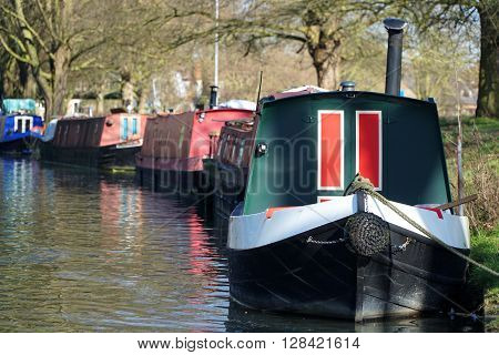 Canal Boats On The River Cam, Cambridge, England