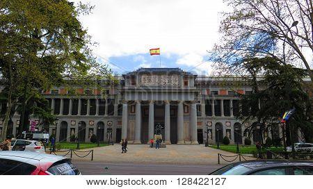 Madrid Spain - April 11 2016: Entrance portal to Prado Museum in Madrid. Madrid Spain - April 11 2016