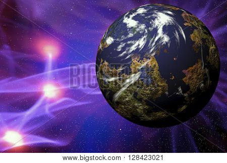 Illustration of space scene with simulated planet with plasma rays