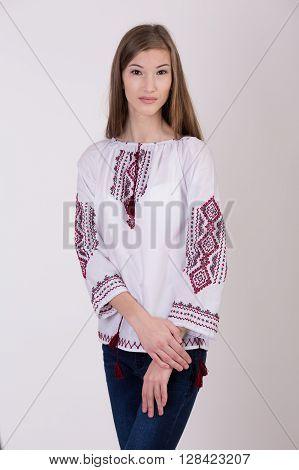 Beautiful young girl in Ukrainian national costume