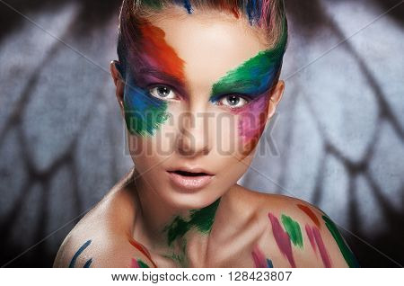 portrait of a girl with painted face
