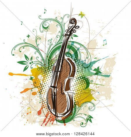 Violin, abstract floral background