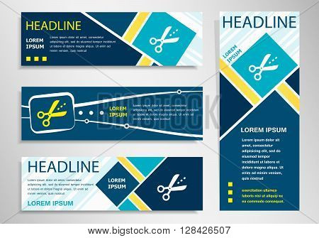 Scissors icon with cut lines on horizontal and vertical banner. Scissors icon abstract banner flyer design template.