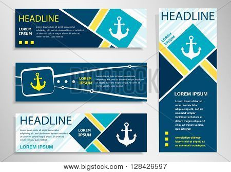Anchor Icon On Horizontal And Vertical Banner.