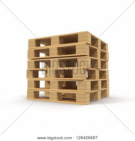 Wooden Pallets Stacked On Top Of One Another isolated on White Background