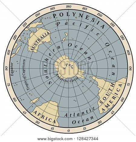 Southern Hemisphere detailed illustration on white background.