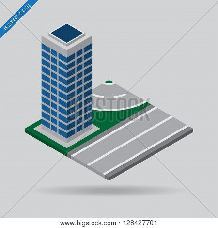 isometric city - road with the solid line dotted line and skyscraper
