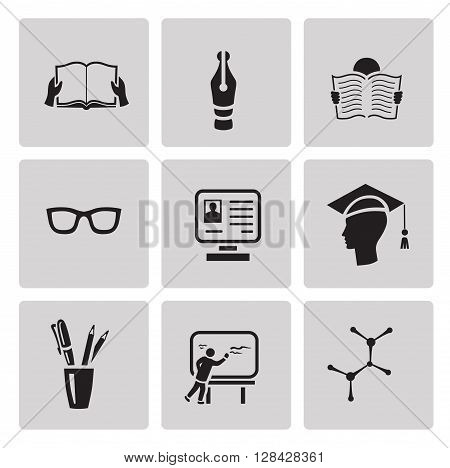 Education icon set in minimalist style. Black sign on gray background