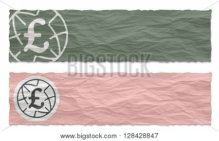 Two green banners of crumpled paper with pound sterling icon
