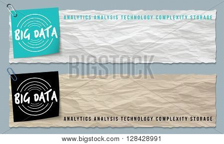 Two banners of crumpled paper with big data icon