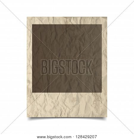 Retro photo frame with grunge and crumpled paper