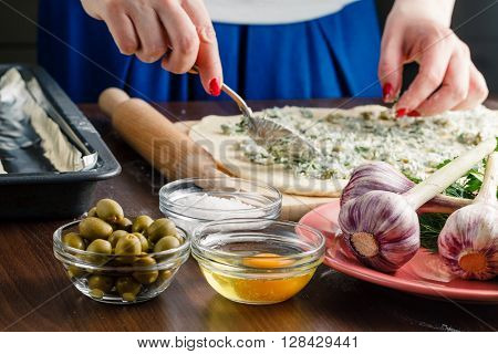 Stuffing With Olive And Garlic French Baguette