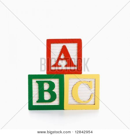ABC Alphabet blocks stacked together.