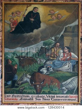 KOTARI, CROATIA - SEPTEMBER 16: Saint Leonard treat people and animals, altarpiece in the church of Saint Leonard of Noblac in Kotari, Croatia on September 16, 2015.