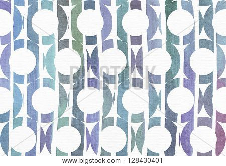 Blue and purple illustration cool and branding freehand texture based on watercolor gradient stripes in large holey circle shapes. Large grainy bright image with imperfections on watercolor paper for your design
