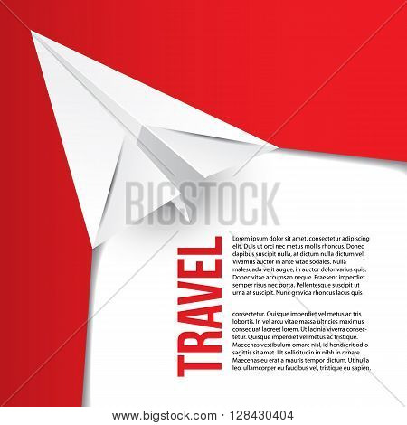 Flying paper origami plane. Hot tours concept. Can be used for corporate identity of travel agency. Red minimalist concept