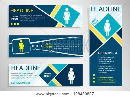 Woman Icon On Horizontal And Vertical Banner