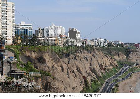 View At Miraflores Lima Sea Costline.